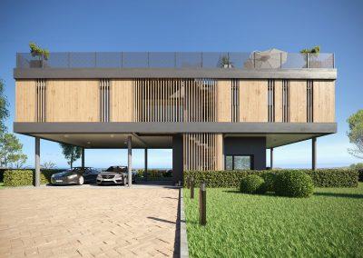 Perspective 3d extérieure d'une maison moderne